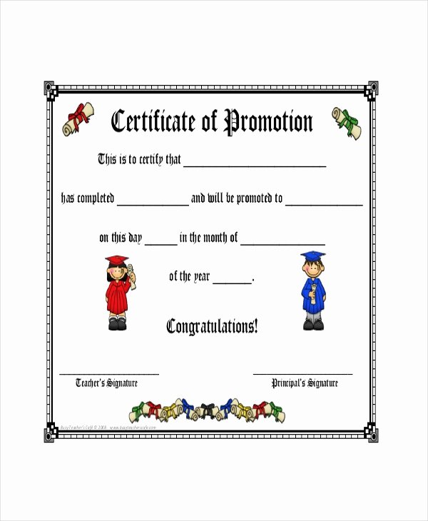 Sunday School Promotion Certificates Luxury Promotion Certificate Template 6 Word Excel Pdf Psd