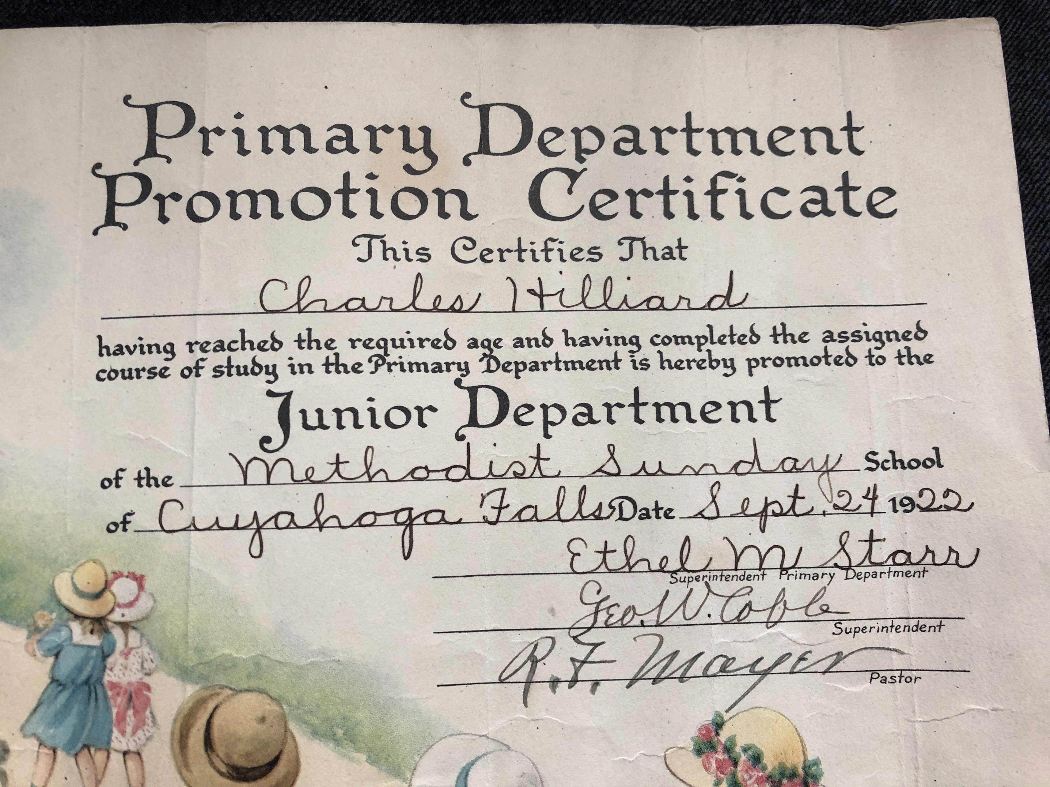 Sunday School Promotion Certificates New 1922 Primary Dept Promotion Certificate Charles Hilliard