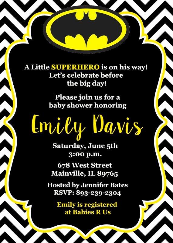 Superhero Baby Shower Invitations Free Awesome Batman Baby Shower Invitation Baby Invitation Superhero