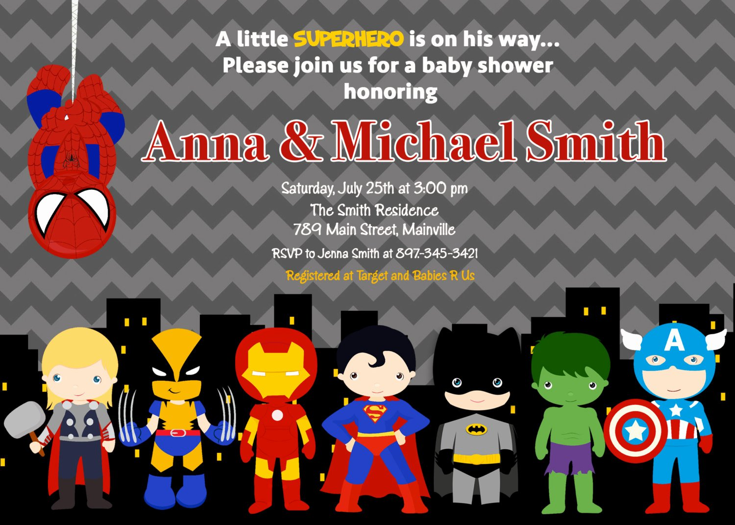Superhero Baby Shower Invitations Free Awesome Superhero Baby Shower Invitation Printable or Printed with