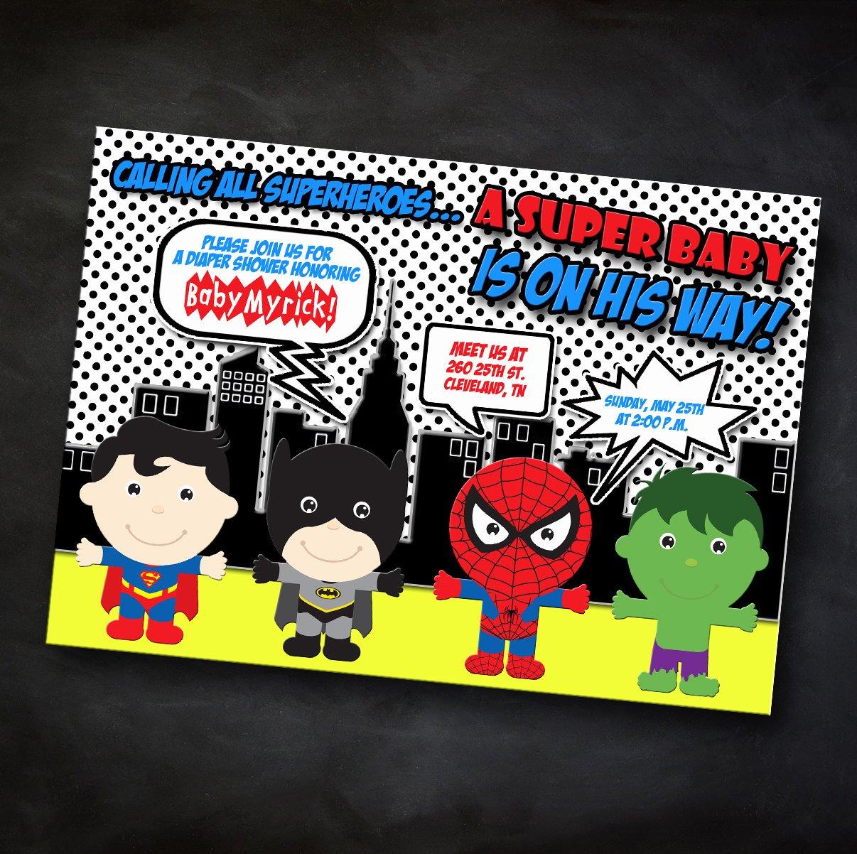 Superhero Baby Shower Invitations Free Beautiful Superhero Baby Shower Invitation Marvel by