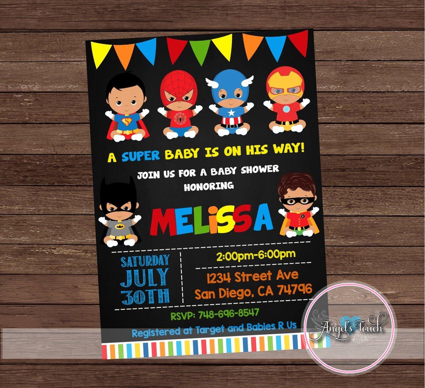 Superhero Baby Shower Invitations Free Elegant African American Superhero Baby Shower Invitation Superheroes