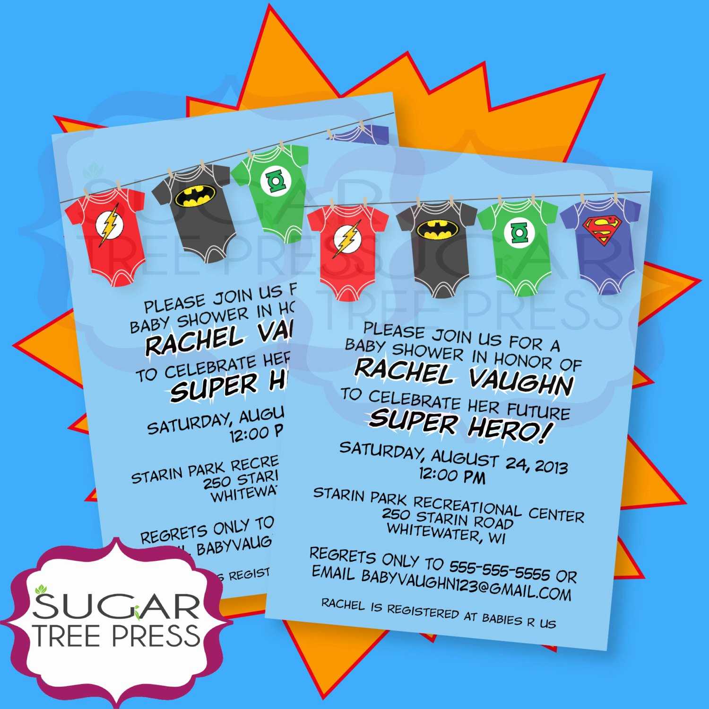 Superhero Baby Shower Invitations Free Fresh Esie Super Hero Justice League Baby Shower by Sugartreepress
