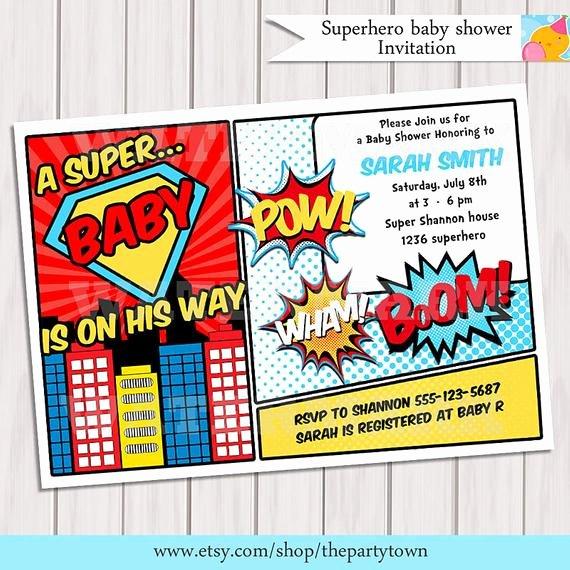Superhero Baby Shower Invitations Free Fresh Superhero Baby Shower Invitation Printable Invite Card