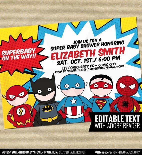 Superhero Baby Shower Invitations Free Inspirational Superhero Baby Shower Invitation Printable Baby by Eltendedero