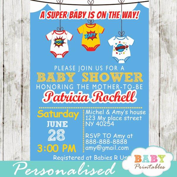 Superhero Baby Shower Invitations Free Lovely Ic Superhero Bodysuits Baby Shower Invitation D211