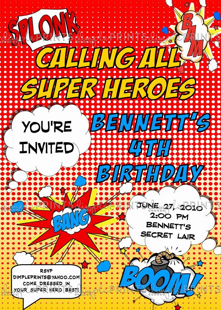 Superhero Baby Shower Invitations Free Luxury Superhero Ic Printable Invitation Dimple Prints Shop