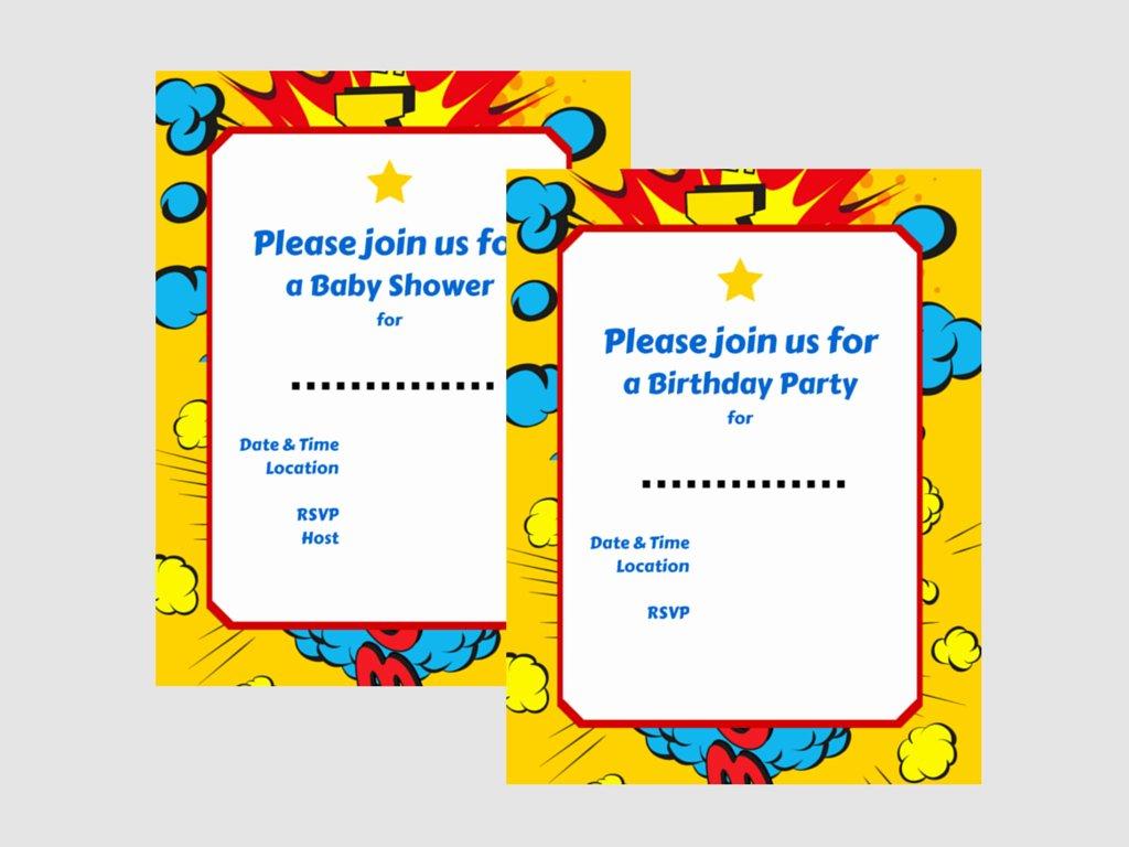 Superhero Baby Shower Invitations Free Luxury Superhero Invitations Magical Printable
