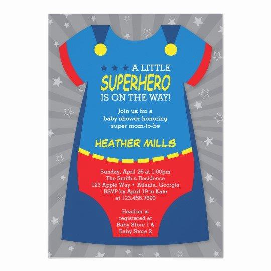Superhero Baby Shower Invitations Free New Superhero Baby Shower Invitation Blue Red Card