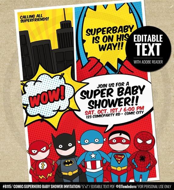 Superhero Baby Shower Invitations Free New Superhero Baby Shower Invitation Printable Baby by Eltendedero
