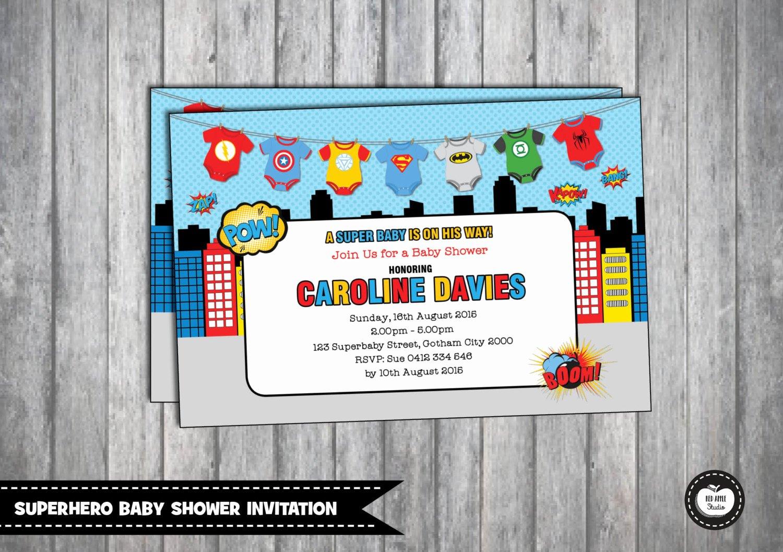 Superhero Baby Shower Invitations Free Unique Superhero Baby Shower Invitation Personalized by