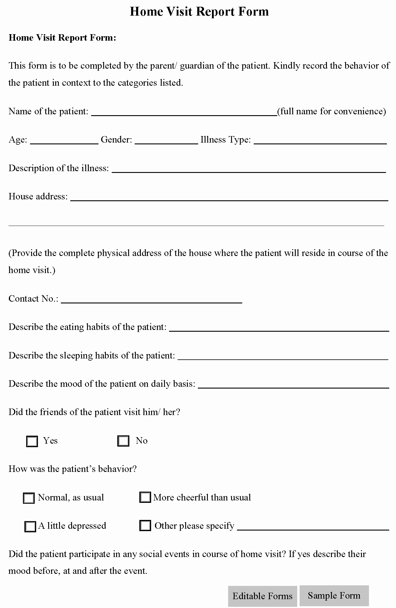 Supervised Visitation Report Template Beautiful Home Visit Report form