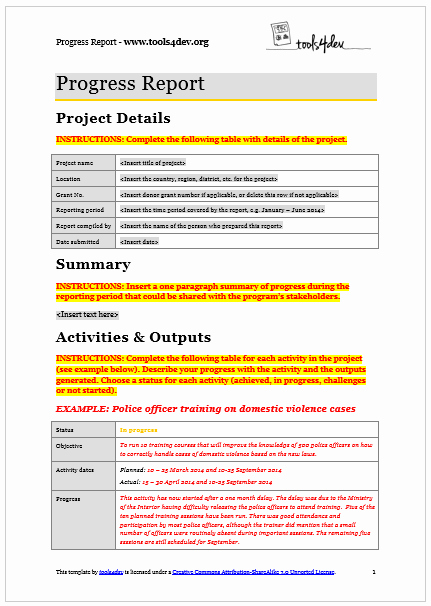 Supervised Visitation Report Template Luxury Progress Report Template