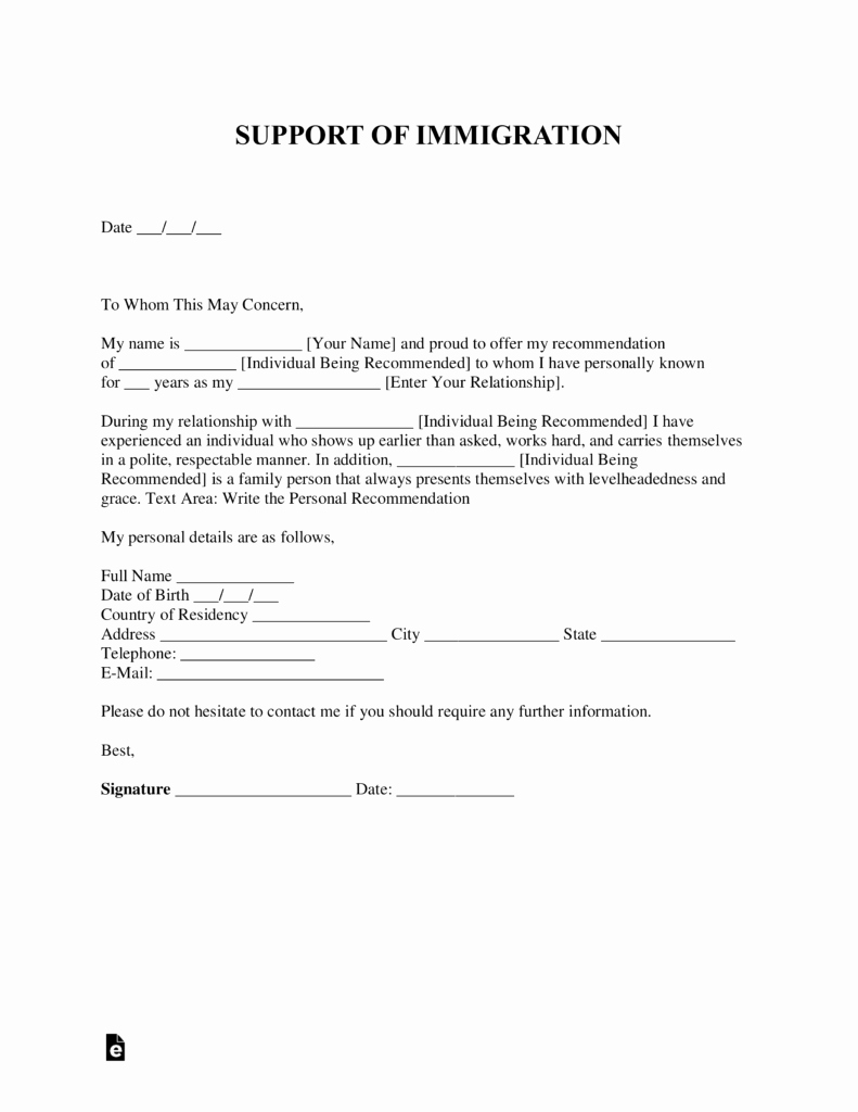 Supporting Letter for Immigration Awesome Free Character Reference Letter for Immigration Template