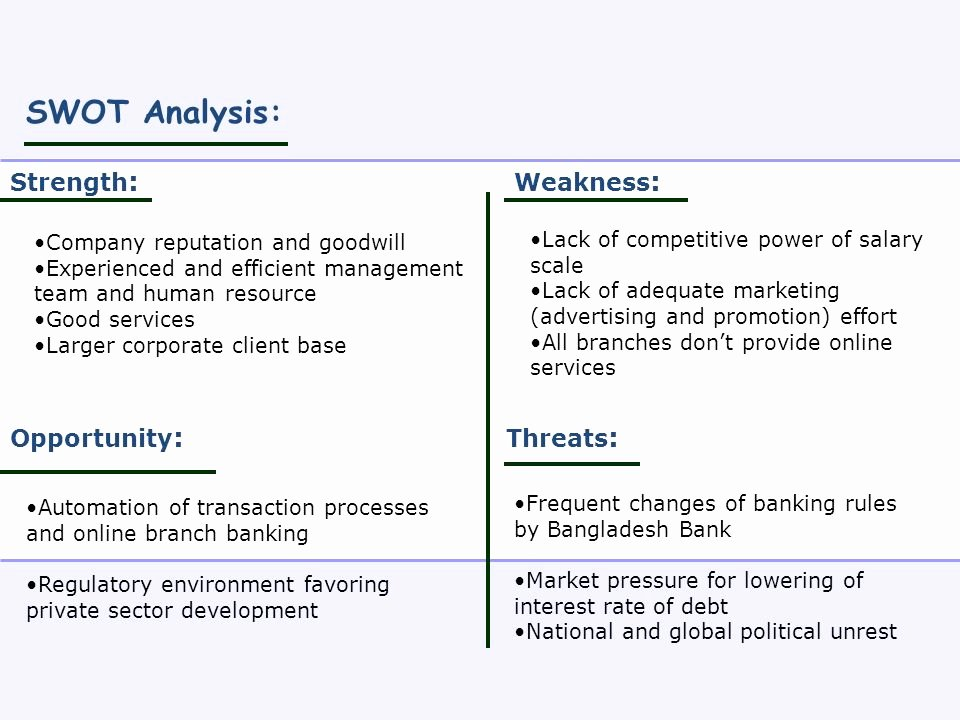Swot Analysis for Hr Department Lovely Human Resource Management and the Banking