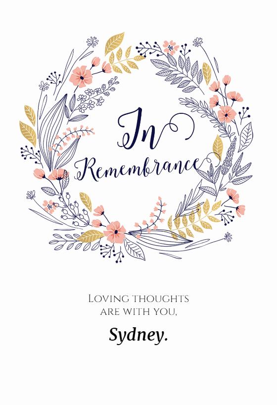 Sympathy Cards Free Printable Unique In Remembrance Sympathy & Condolences Card Free
