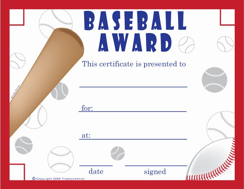 T Ball Award Certificates Awesome Free Baseball Certificates Certificate Free Baseball