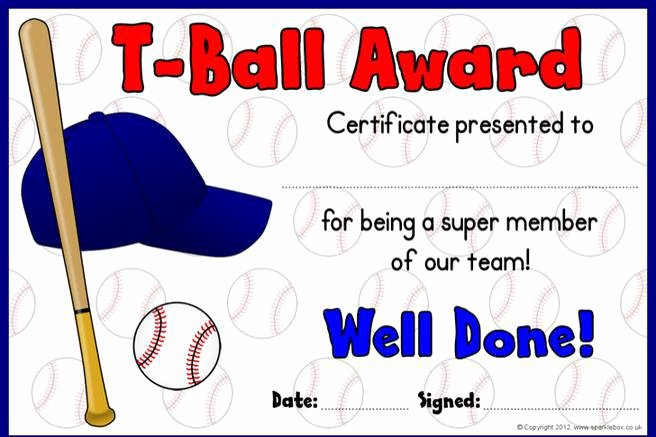 T Ball Award Certificates Beautiful 5 T Ball Certificate Templates Free Download