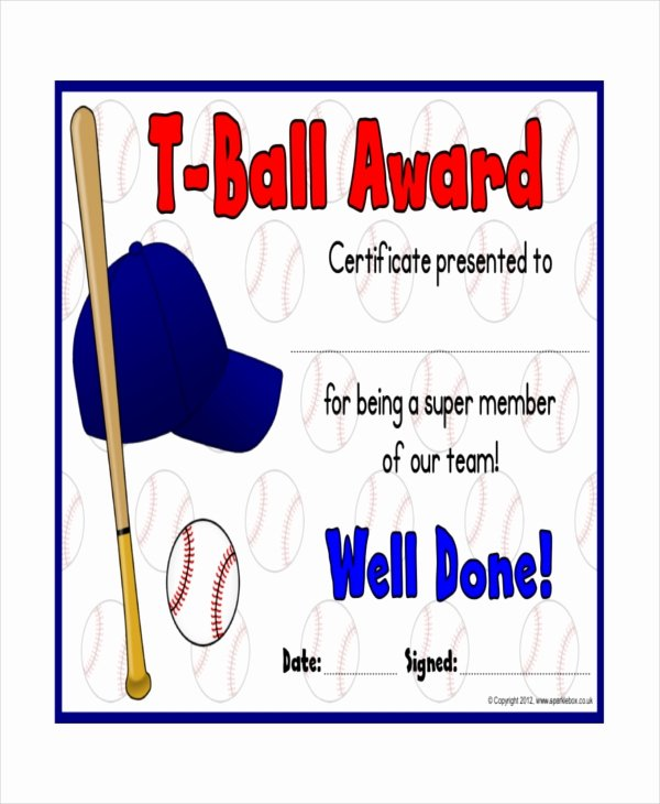 T Ball Award Certificates Beautiful T Ball Certificate Template 5 Word Pdf Ai Indesign