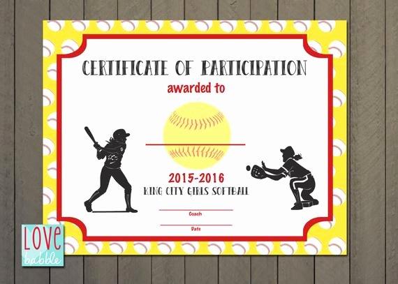 T Ball Award Certificates Best Of Girls softball Baseball T Ball Award Certificate Printable