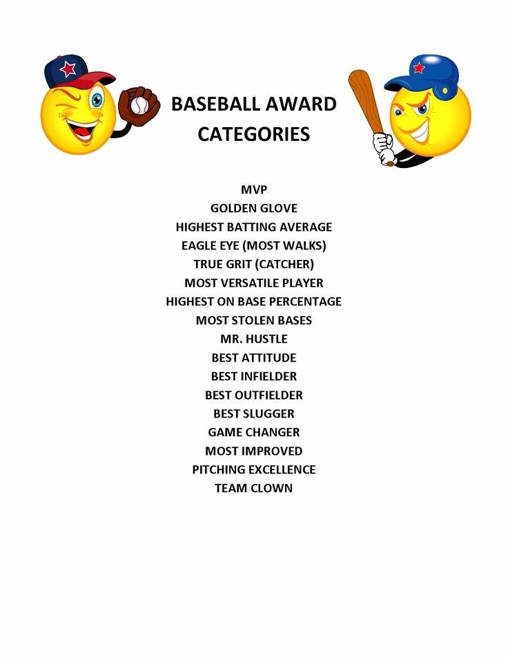 T Ball Award Certificates Elegant End Of Season Baseball Award Categories