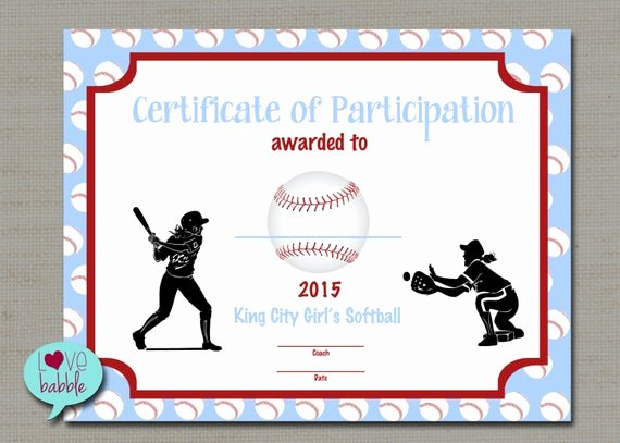 T Ball Award Certificates Fresh Girls softball Baseball T Ball Award Certificate Printable