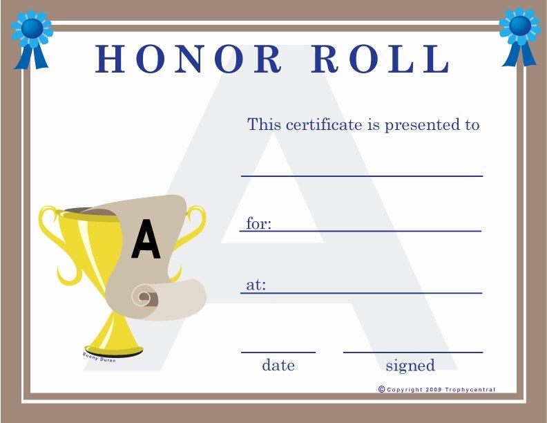T Ball Award Certificates Luxury Free Honor Roll Certificates Certificate Free Honor Roll