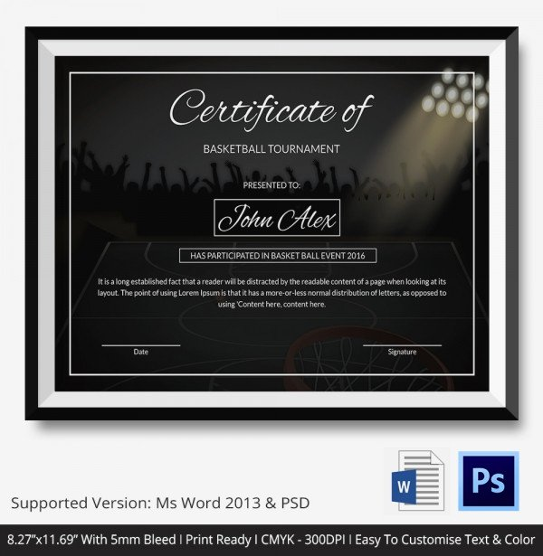 T Ball Award Certificates Unique Basketball Certificate Template 14 Free Word Pdf Psd