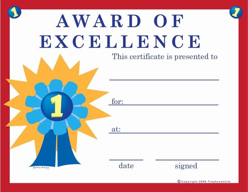 T Ball Award Certificates Unique Free Excellence Certificates Certificate Free Excellence