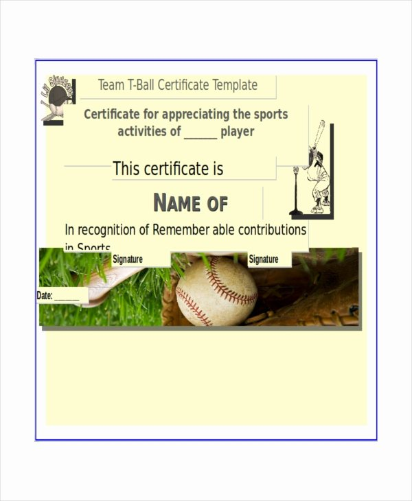 T Ball Award Certificates Unique T Ball Certificate Template 5 Word Pdf Ai Indesign