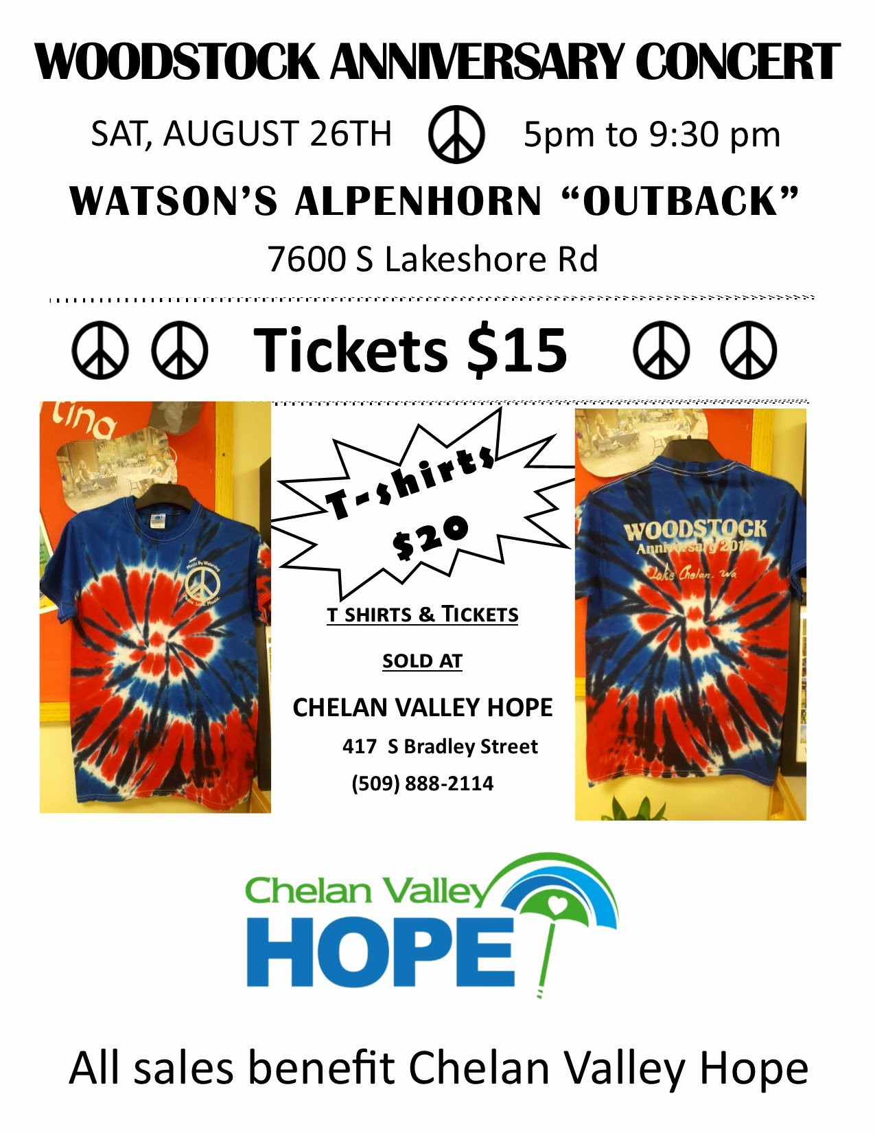 T Shirt Sale Flyer Elegant Woodstock T Shirts are Here – Chelan Valley Hope