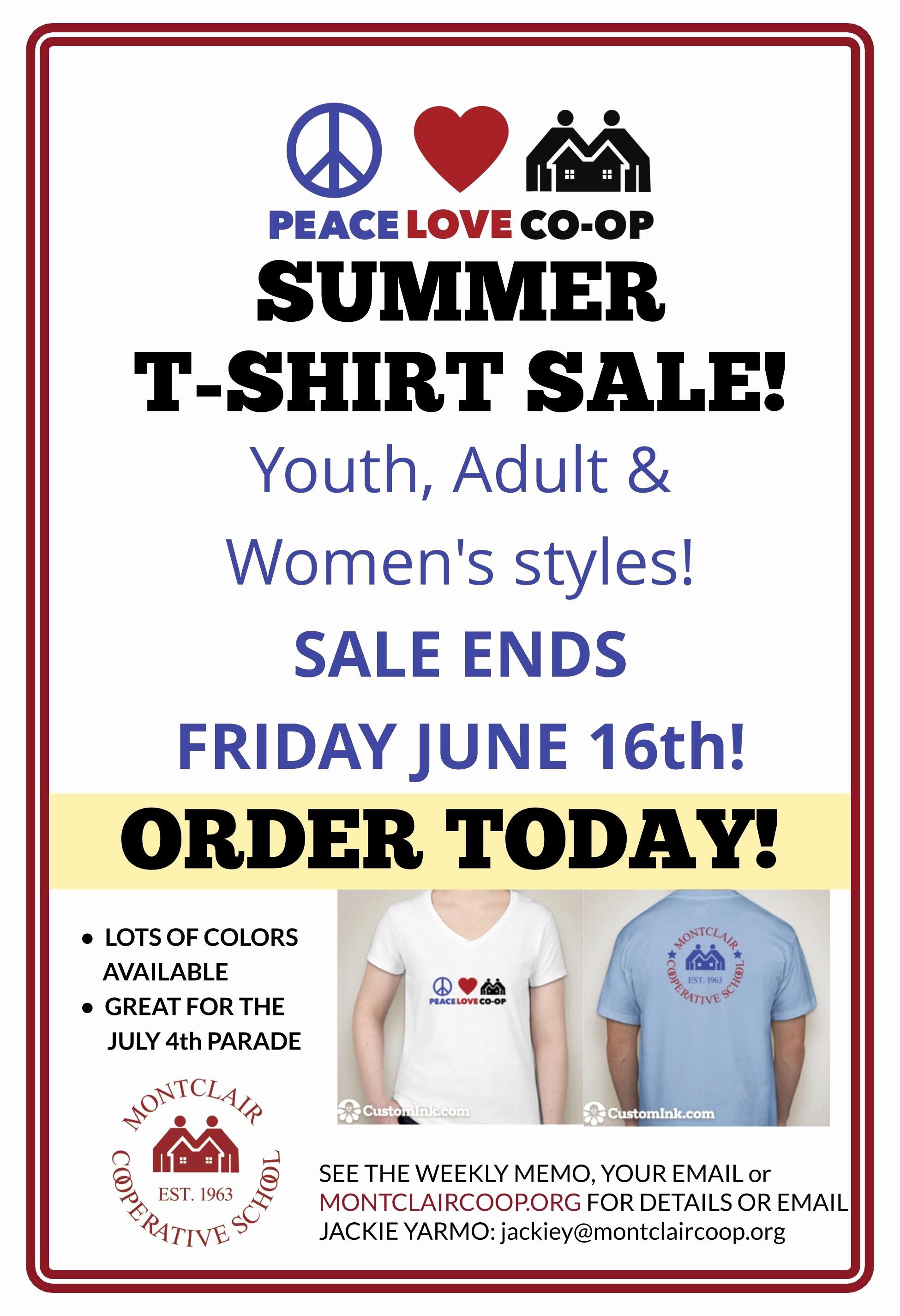T Shirt Sale Flyer Unique Summer T Shirt Sale Montclair Cooperative School