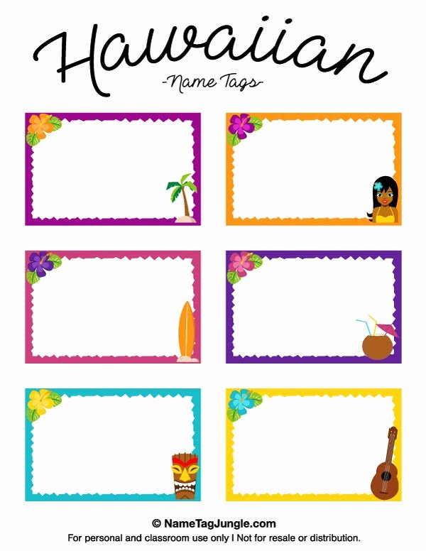 Table Name Tag Template Fresh Free Printable Hawaiian Name Tags the Template Can Also