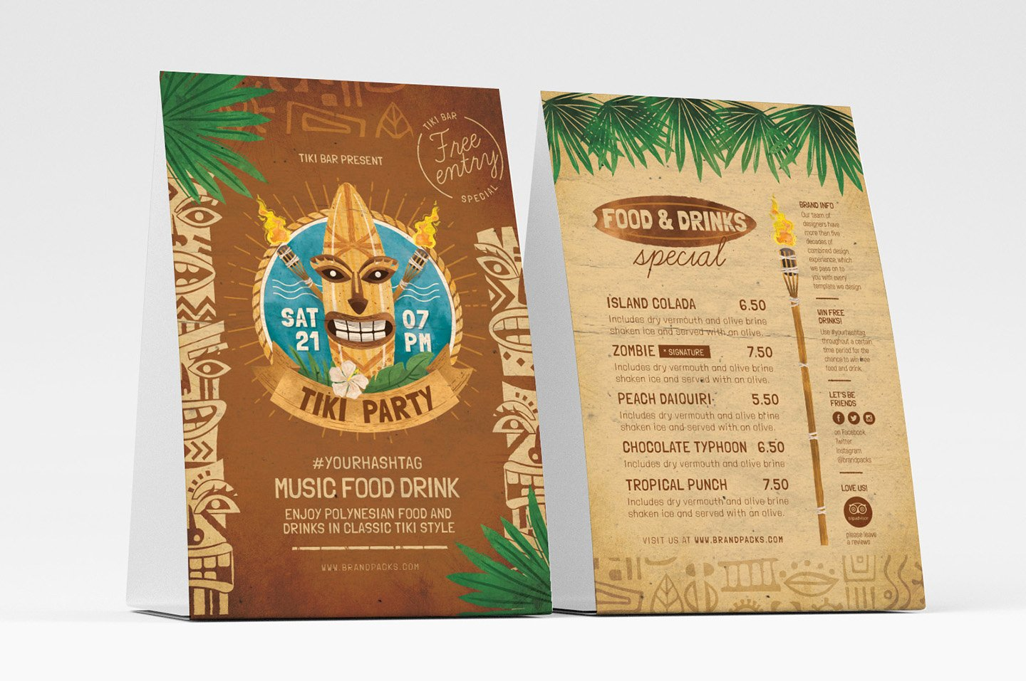 Table Tent Template Illustrator Elegant Tiki Flyer Templates Psd Ai & Vector Brandpacks