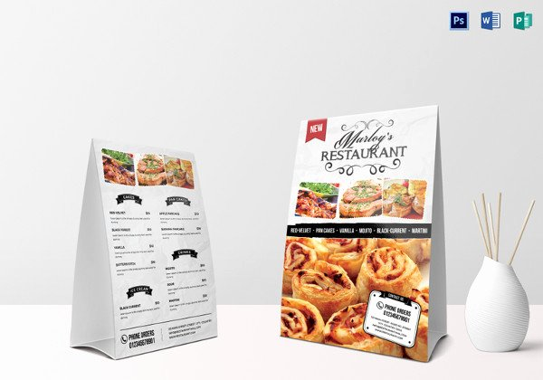 Table Tent Template Illustrator Luxury 47 Menu Card Templates Ai Psd Docs Pages