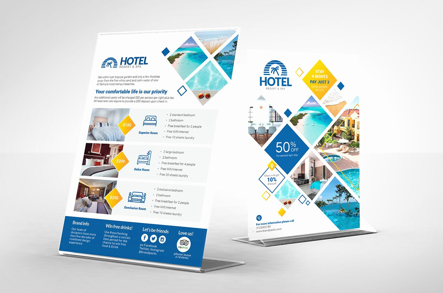 Table Tent Template Illustrator Unique Hotel Flyer Templates Psd Ai & Vector Brandpacks