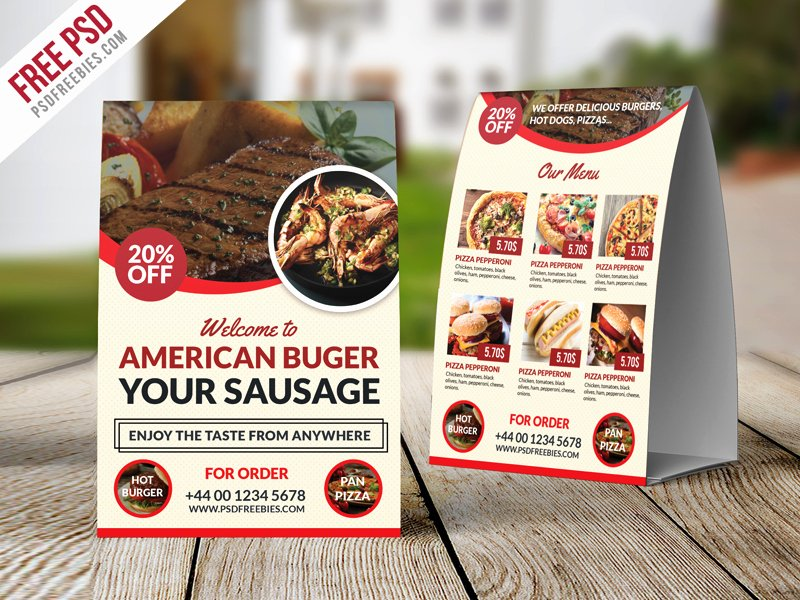Table Tent Template Photoshop Fresh Restaurant Table Tent Template Free Psd
