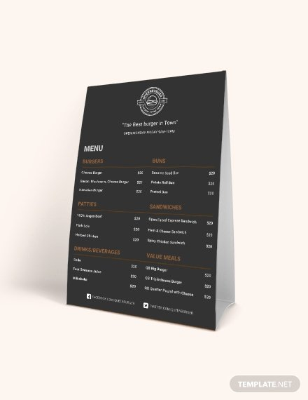 Table Tent Template Photoshop New Editable Pizza Menu Table Tent Template Download 10