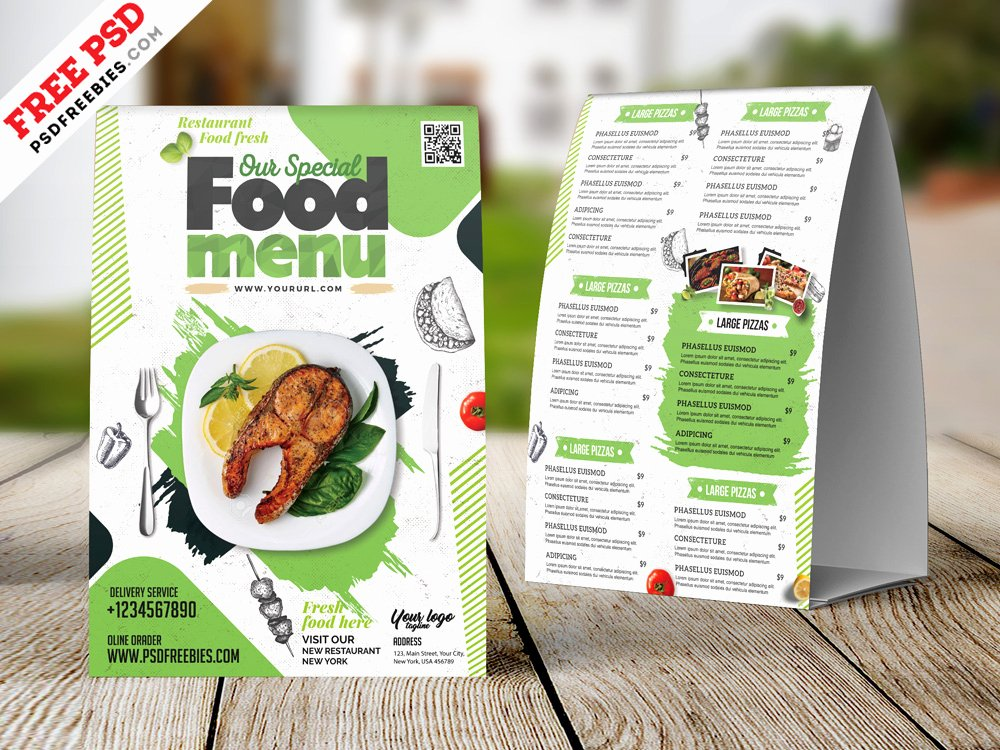 Table Tent Template Photoshop Unique Restaurant Tent Card Food Menu Design Psd