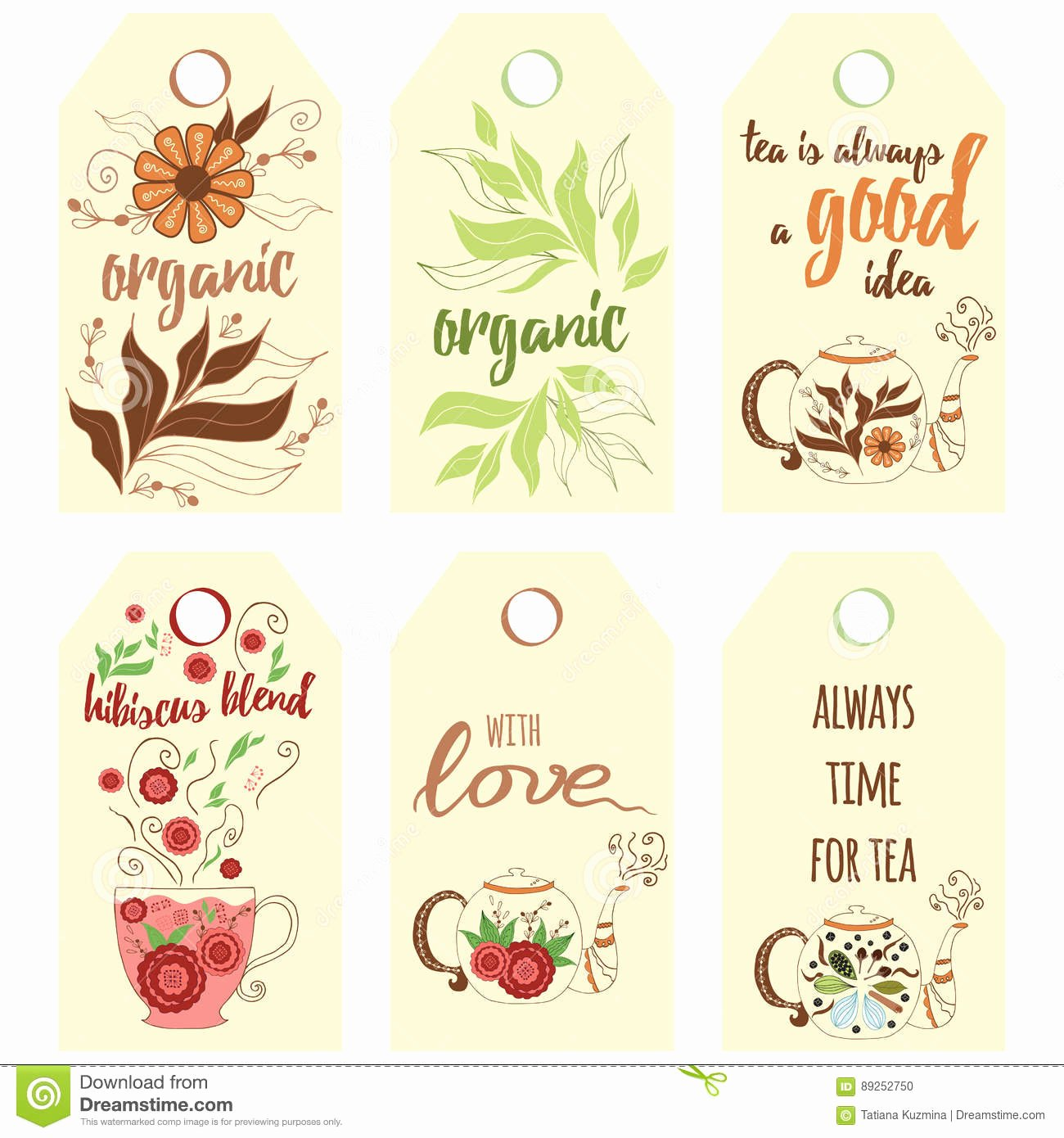 Tea Bag Tags Template Best Of Tag Collection with Teapots Stock Vector Illustration Of