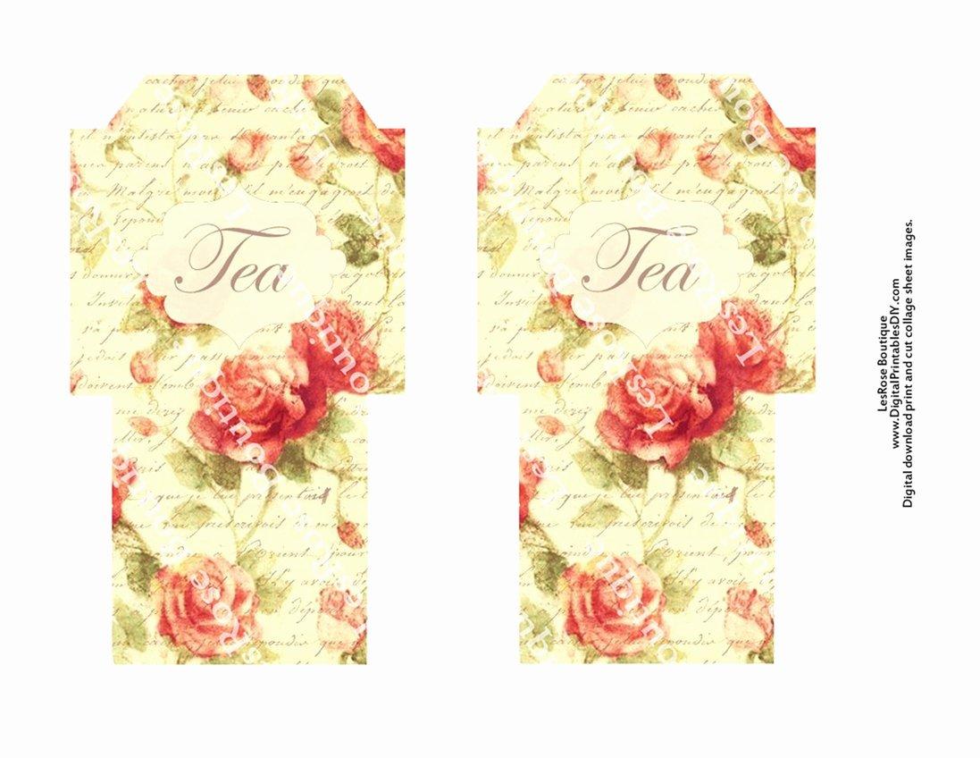 Tea Bag Tags Template Inspirational Tea Bag Envelopes Shabby Old Roses Vintage Florals On French
