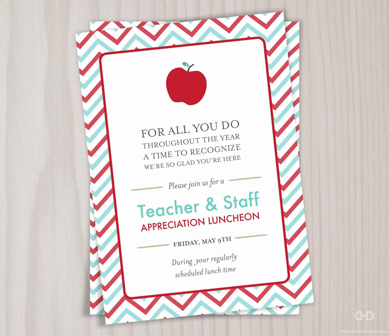 Teacher Appreciation Luncheon Invitation Best Of Teacher Appreciation Invitation Printable Teacher Thank You