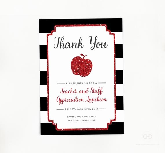 Teacher Appreciation Luncheon Invitation Elegant Teacher Appreciation Invitation Apple Printable Teacher