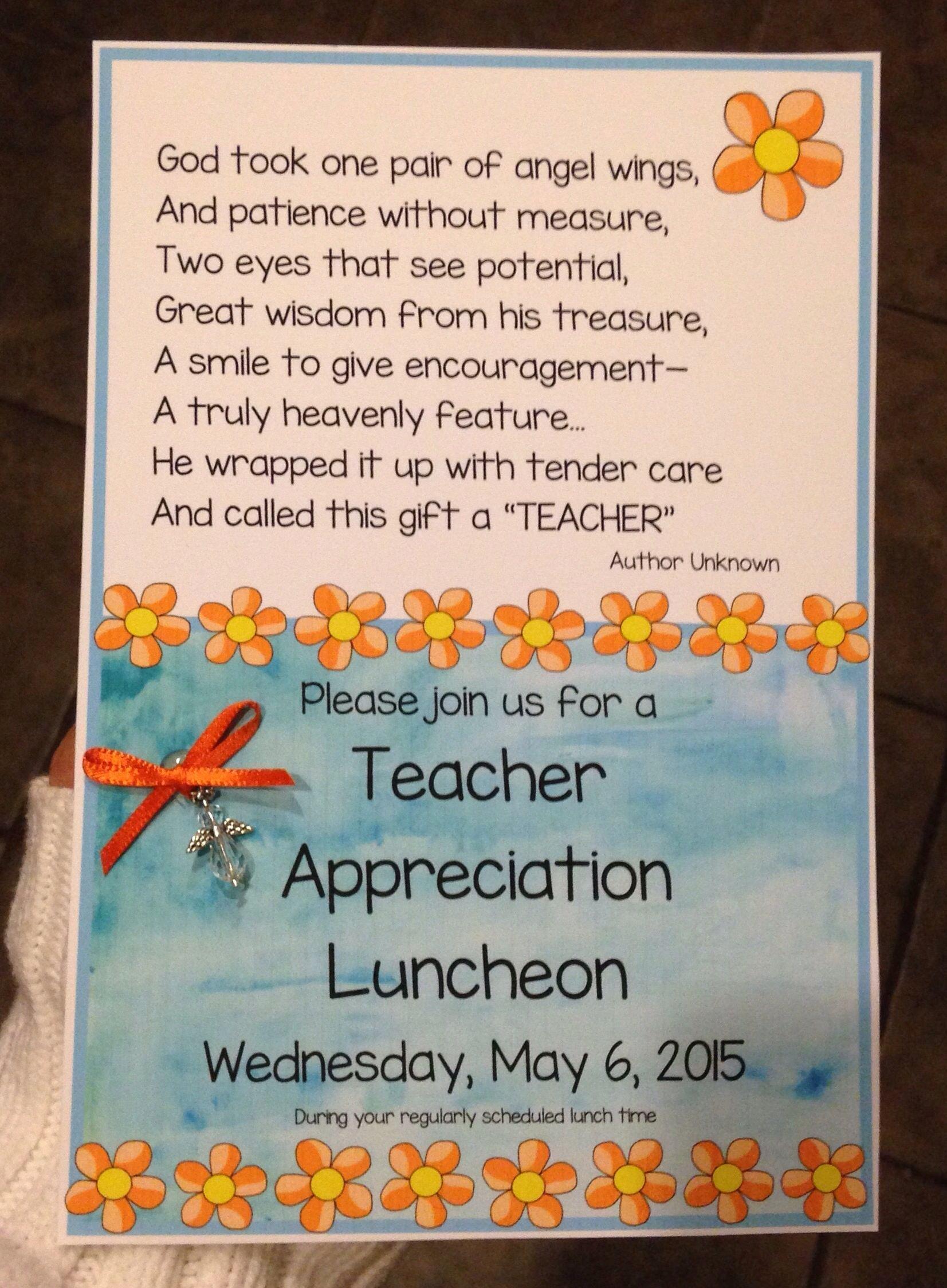 Teacher Appreciation Luncheon Invitation Elegant Teacher Appreciation Luncheon Invitation …