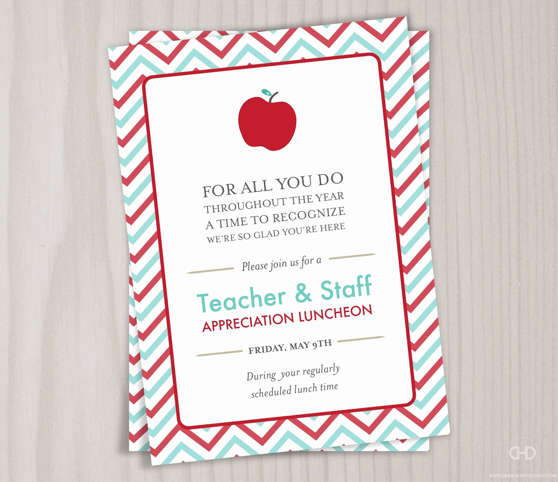 Teacher Appreciation Luncheon Invitation Fresh Teacher Appreciation Invitation Printable Teacher Thank