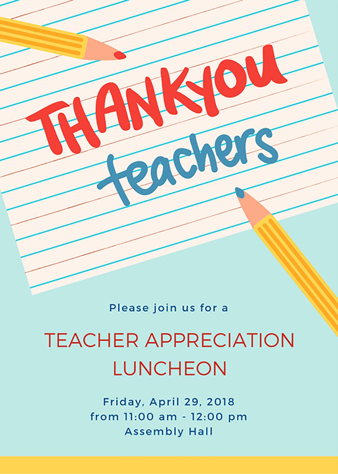 Teacher Appreciation Luncheon Invitation Lovely 30 Beautiful Teacher Appreciation Ideas Canva