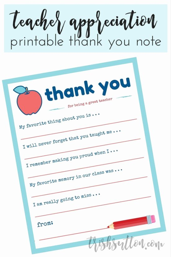 Teacher Appreciation Week Letters Awesome Teacher Appreciation Week Printable Thank You Note