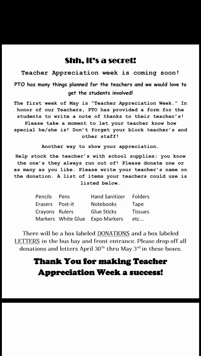 Teacher Appreciation Week Letters Beautiful Pto Teacher Appreciation Letter I Created to Send Home
