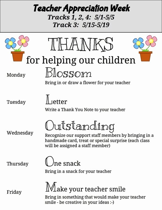 Teacher Appreciation Week Letters Best Of Carpenter Elementary School Pta News