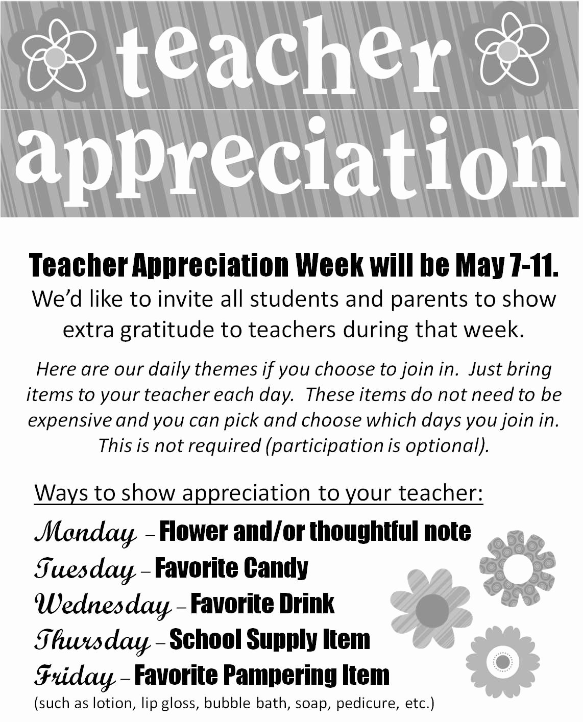 Teacher Appreciation Week Letters Elegant Great Idea for Celebrating A Teacher Everyday During